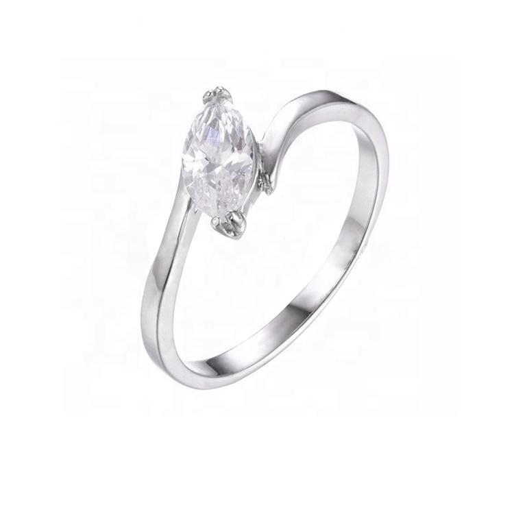 Moda cobre ornamental Branco marquise pedra mosaico broca de diamante cz anel de noivado