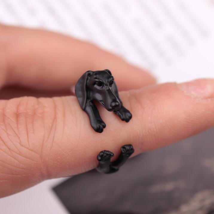 CN-09 للتعديل للجنسين خواتم خواتم مجوهرات الكفة خمر سبيكة البكيني أحد أبناء بكين الكلب الحيوان الدائري