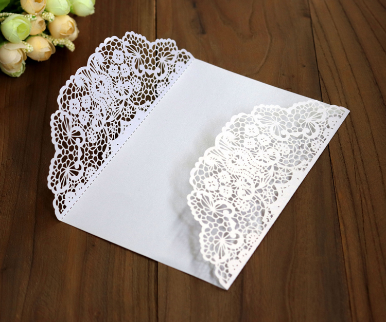 Wholesale Floral Note Coloured Cards Wedding Invitation Card Sets With Envelopes