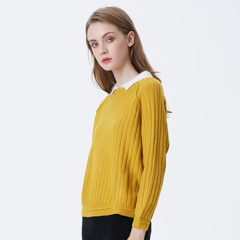 Оптовая продажа женщин Yong дамы свитер пуловер поло отложной воротник сплошной школы женщин равномерный
