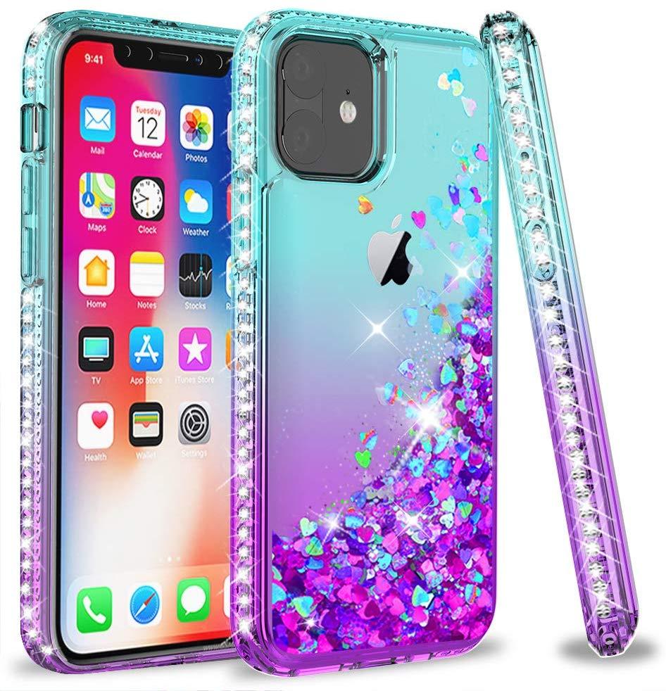 12 LeYi glitter líquido caixa do telefone para o iphone 2020 com temperado tpu casos covers