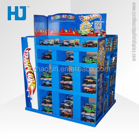 Custom design dekorative metall lagerplätze für kid spielzeug, recycle material playmobile karton zähler top pop display