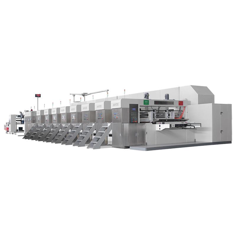 Línea De Producción De La Impresora Automática De Alta Velocidad Con Ranuradora, Troqueladora Y Engomadora Automática