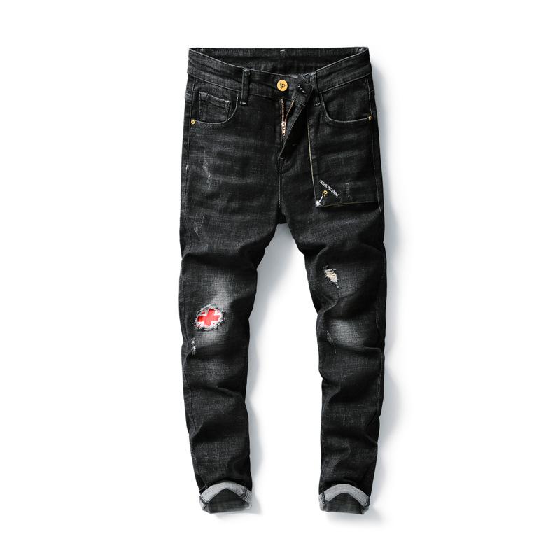 Yeni varış erkek moda pantolon yırtık esnek delik kot erkek karışımı kot pantolon
