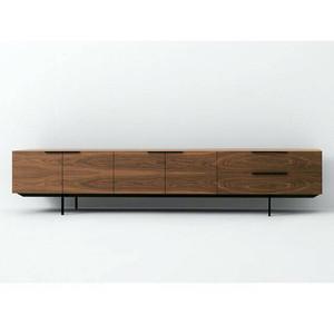 Gabinete de tv color nogal, gabinete de tv de madera con patas de acero inoxidable