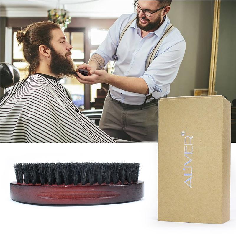 天然イノシシ毛ひげブラシ驚異を働かせる男性のための竹フェイスマッサージ櫛ひげと口ひげとボックス