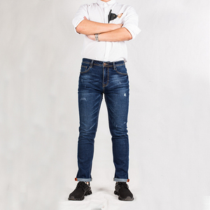 التآكل و قرصة على الجبهة جيب الزاوية الأزرق غسلها الجينز دعوى لجميع الموسم ملابس رجالي تلائم الرجل النحيف نحيل الجينز السراويل