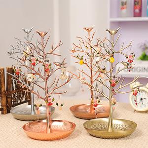 Creativo porche decoración de dormitorio de metal de acero inoxidable árbol clave pendientes collar rack soporte
