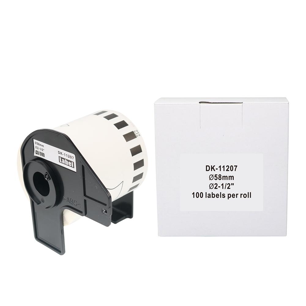OEM 100% Compatível Irmão DK-11207 58mm * 58mm * 100pcs DK dK 1207 dk-1207 Plastik CD DVD papel de etiqueta