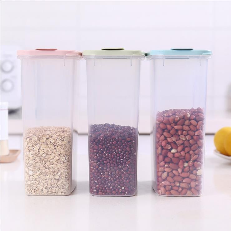 transparente de té de arroz de grano contenedor de almacenamiento de alimentos con tapa y taza de medición
