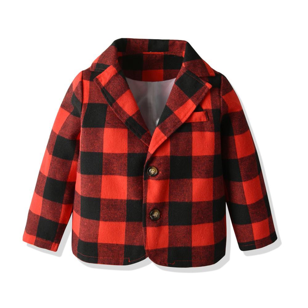 春の秋の子供生き抜く赤チェック柄ブレザー子供服ボーイズブレザー