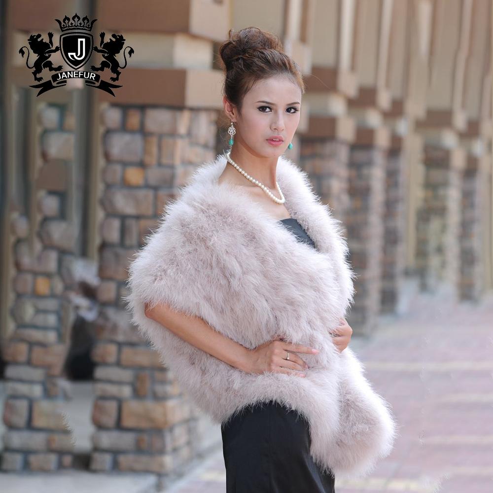 Mode hiver plume manteau femmes dinde naturelle cape de fourrure femmes