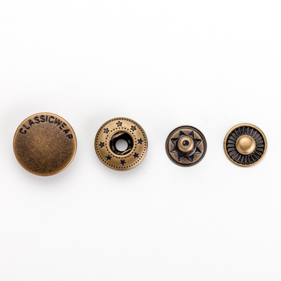 Design de mode gravé logo presse bronze antique boutons-pression en métal pour veste