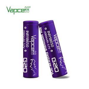 Vapcell inr18650 2000mah 30A 3.7V 충전식 높은 드레인 리튬 이온 배터리 플랫 탑 박스형 (보라색)