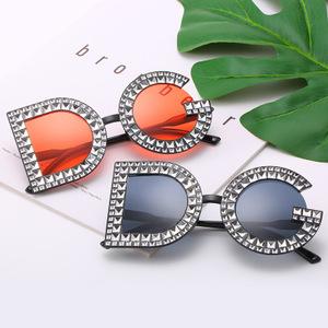 ファッションブランドの女性のラウンドサングラスダイヤモンド高級手紙フレーム超大型の正方形 dg サングラス UV400