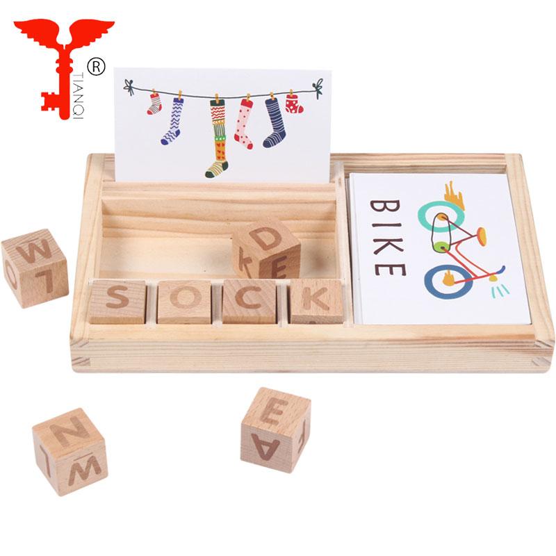 Amazon Stick Multi-funktion Lernen Box Gebäude Block Rechtschreibung Wort Spiel Set Kinder Holz Montessori Pädagogisches