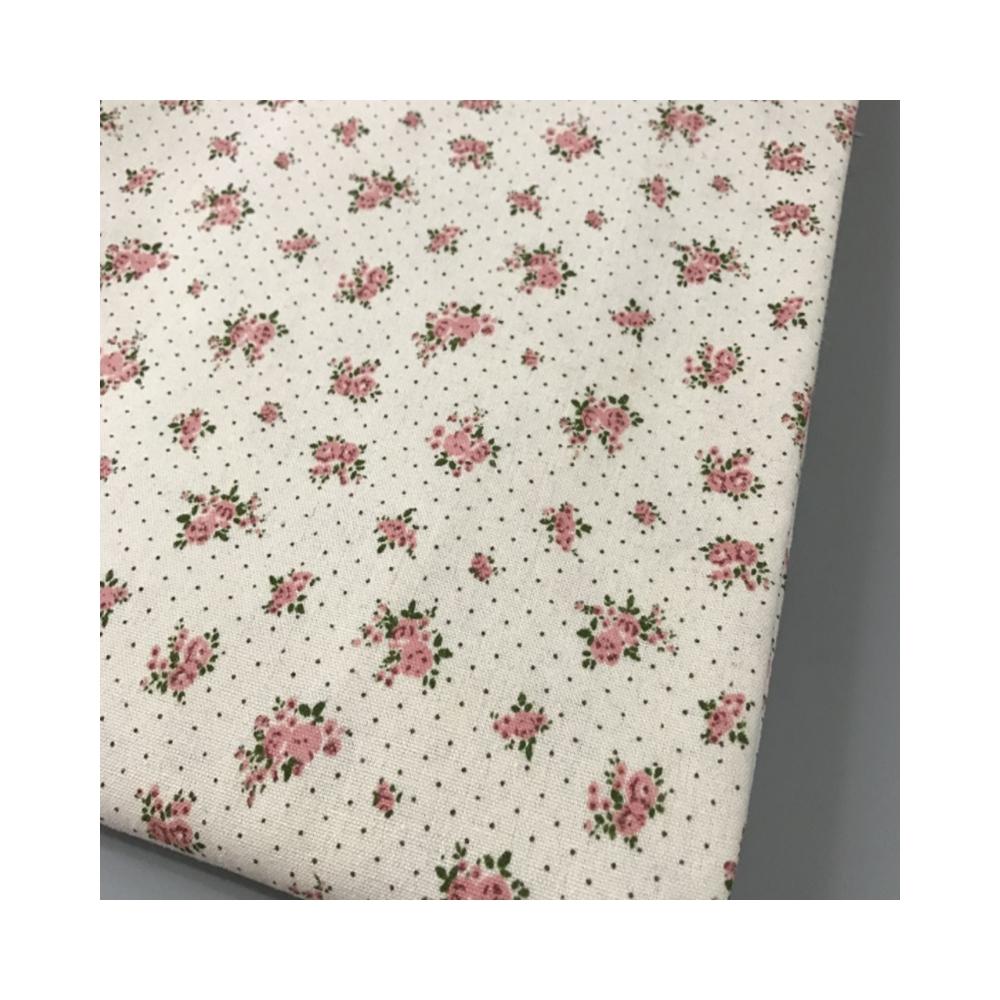 Bela Flor Impresso Tecido De Linho Têxtil Pano De DIY Artesanal de Costura Artesanato Almofada