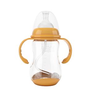 Baosheng freies verschiffen 240ml 8 unzen weithals temperatur sensing bpa frei pp baby milch fütterung flasche mit griff