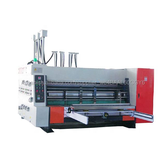 Precio más bajo de cartón caja de cartón flexo 4 colores de impresión ranuradora de la impresora, el precio de la máquina