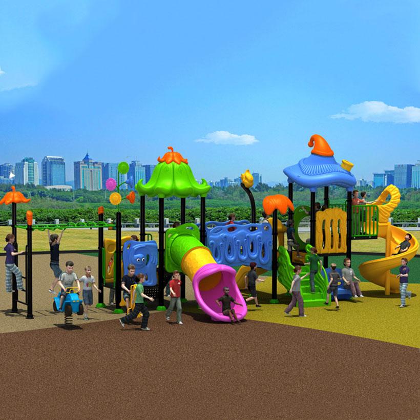 Fantástico jardim de slides das crianças ao ar livre equipamentos de playground local público para preschool