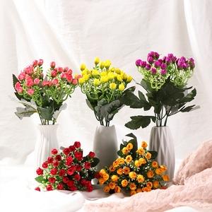 36 cabezas rosa de seda Artificial de ramo de flores pequeño Rose Bud boda casa tumba al aire libre ramo flor decorativa