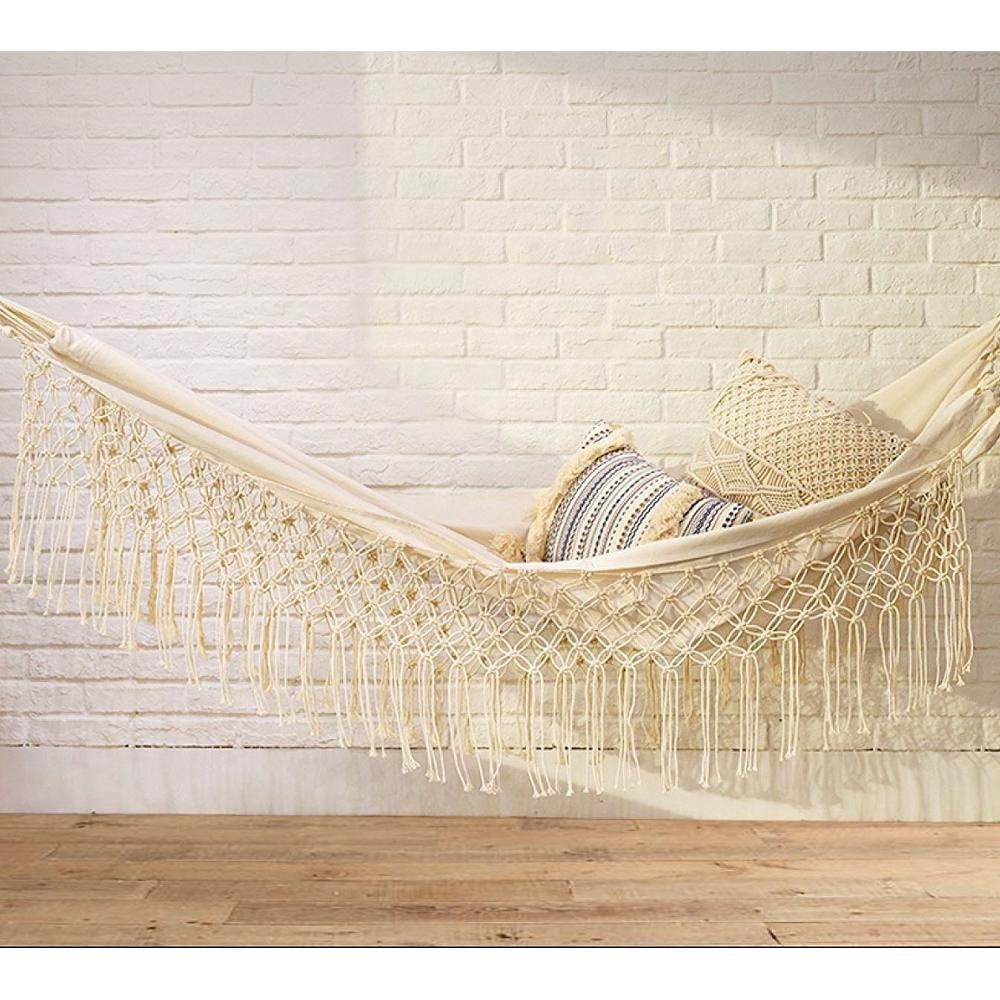 Outdoor Indoor white Cotton Hammock with Macrame Lace Fringe Tassel