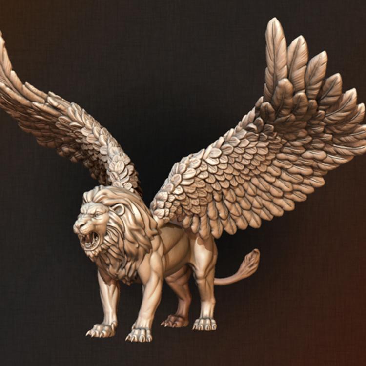 Jardín al aire libre decoración antigua gran vida silvestre vida tamaño alas León estatua de bronce
