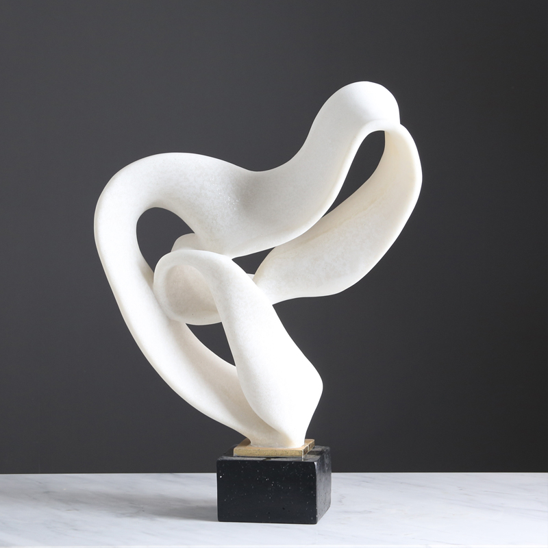 Moroccan Interior Decoration Items Artificial Crafts Modern White Ribbon Resin Sculpture