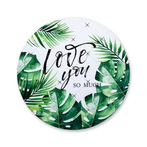 Barato promocional personalizado tema estilo redondo verde tropical Turística de planta fotos recuerdos regalos