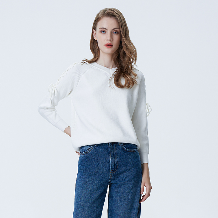 Женская мода одежда свитера yong девушки Осень вязать свитера со шнуровкой