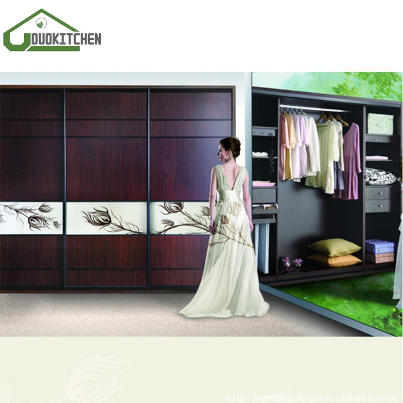 Puerta corredera de cristal grano de madera armario para el dormitorio