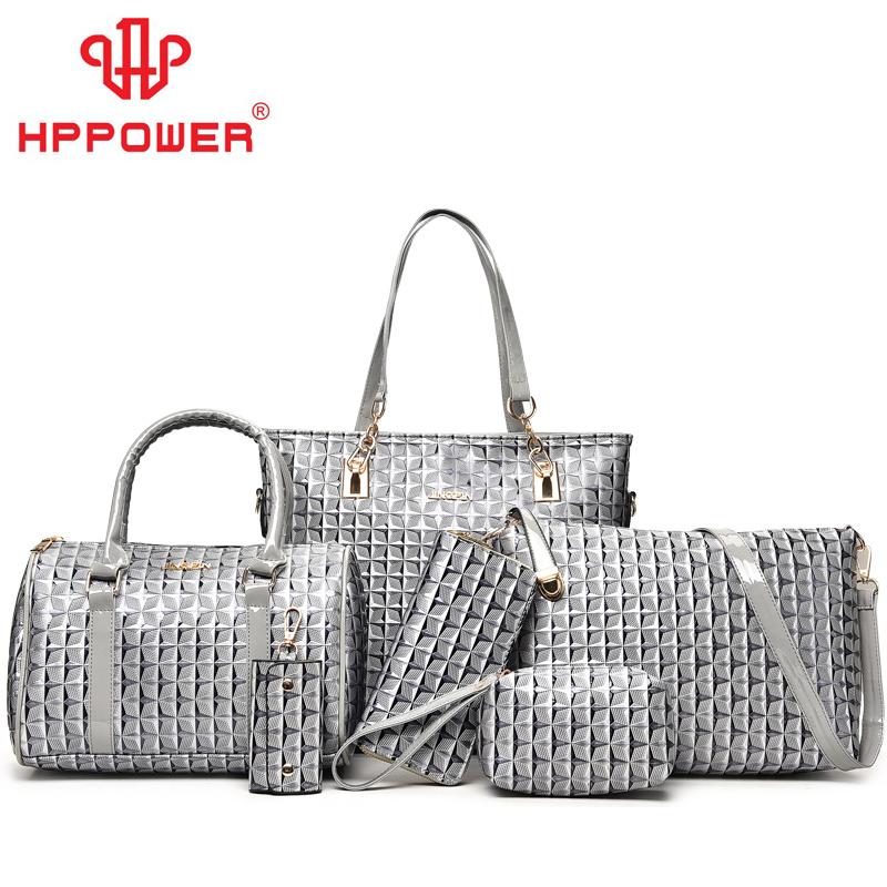 Heißer verkauf billig vietnam formale stepp luxus leder kanal taschen und brieftasche 6 stücke set handtaschen für frauen
