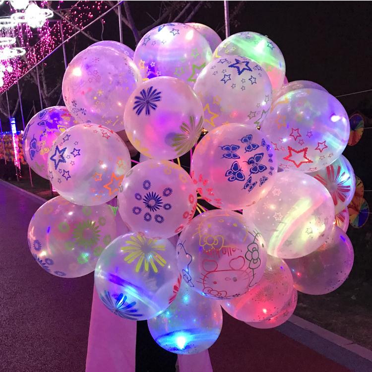 Tanıtım ledi Aydınlatma Globo Balonlar Renkli Yanıp Sönen 12 Inç Lateks Led Balon Akşam Parti Için