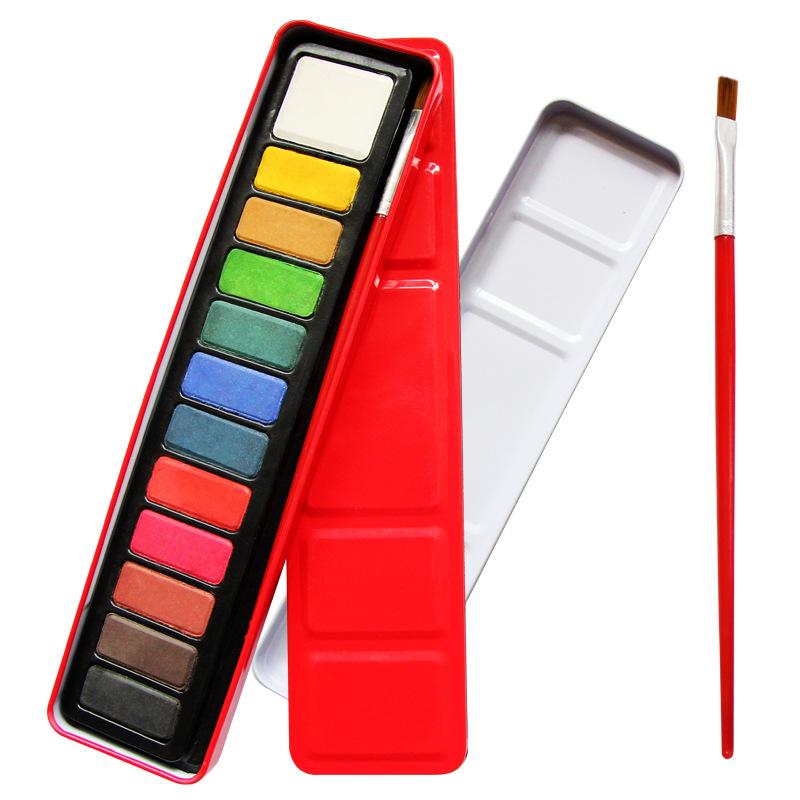 수 페리 어 질 Painting 12 색 Fabric Solid 물 색 케이크 페인트 분말 수채화 페인트 Set 와 Brush