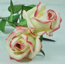 venta al por mayor de mesa decorativas de la boda real de flores artificiales de tacto de seda flor color de rosa
