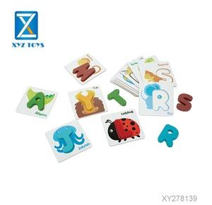 Jouets préscolaires nombre cartes lettres alphabet en bois avec de beaux animaux