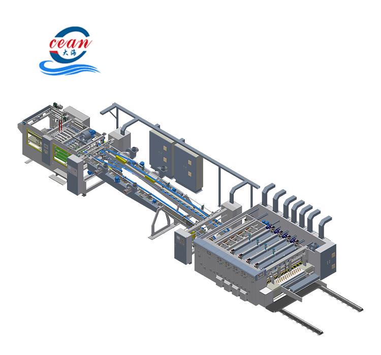 Alta eficiencia de producción 2500*5300*2200mm flexográfica ranuradora de impresión de la máquina de corte