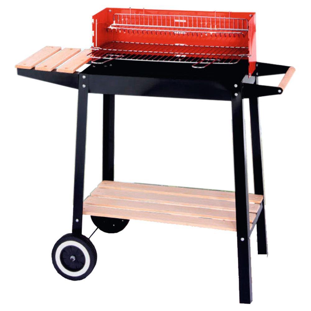 Alta calidad al aire libre carro rectangular barbacoa Parrilla de carbón con plataforma de madera parrilla cuadrada