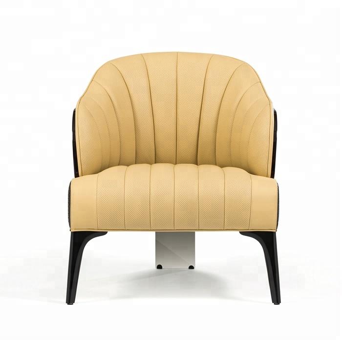 Деревянный кожаный диван кресло желтый кресло мебель для дома <span class=keywords><strong>кресла</strong></span> GY10124B