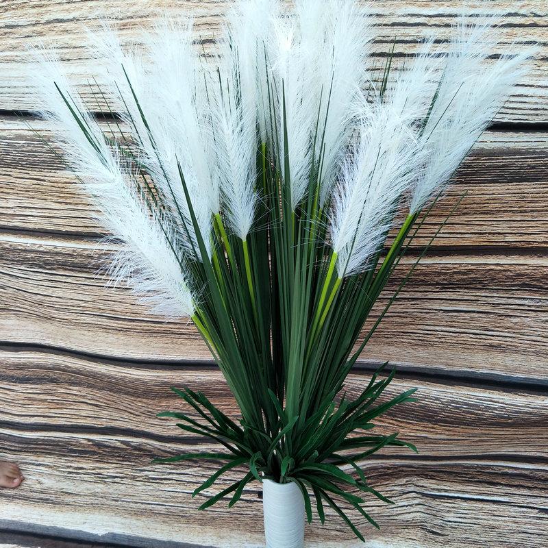 Alta simulación de Planta artificial reed grass de estilo rural bulrush hierba para la boda y la decoración del hogar