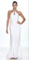 blanco del vestido lleno de longitud sin mangas de fiesta en la playa