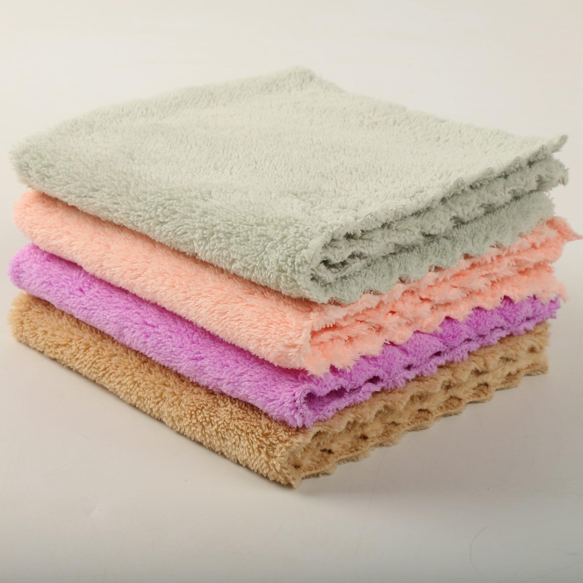 Customised size eurow 두 번-측 terry 천 두 번 loop 드레싱 eco fabric 마이크로 화이버의 셔닐 실 coral fleece face 수건