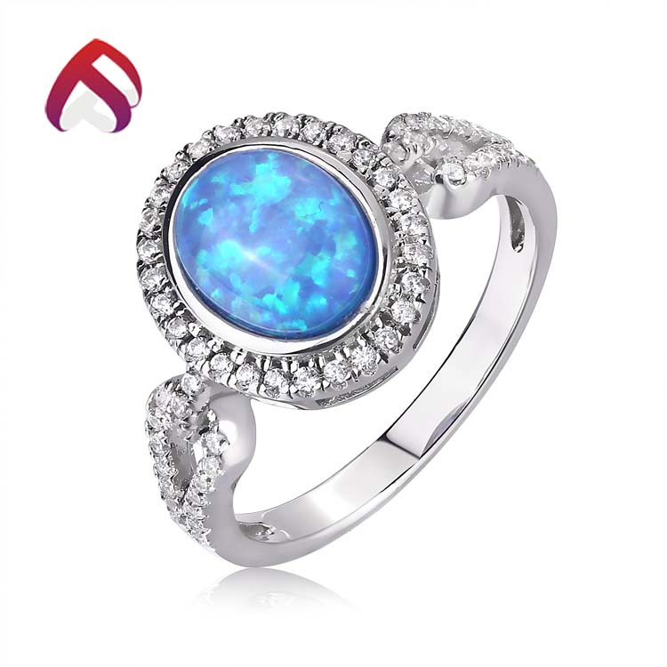 Cina <span class=keywords><strong>produttore</strong></span> blue opal jewelry sterling silver ovale opal gemstone rings