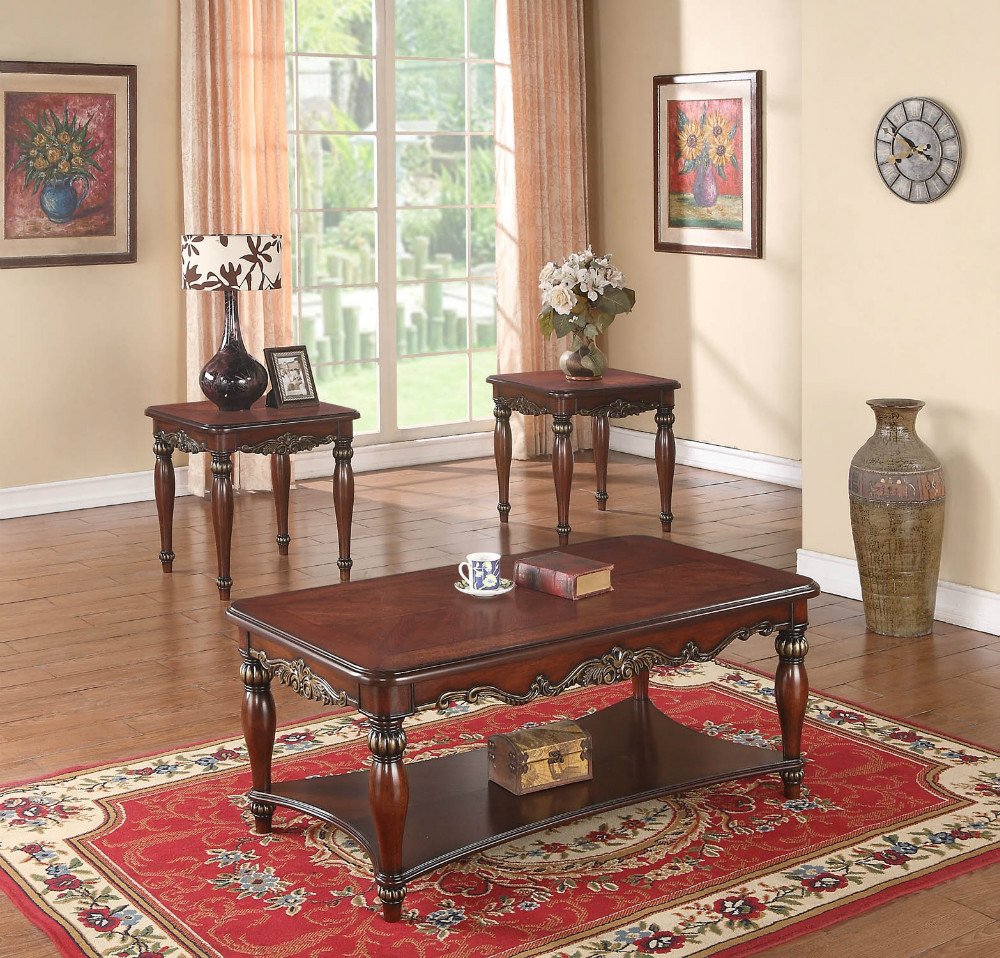 hand made high end hand carved classic coffee table set