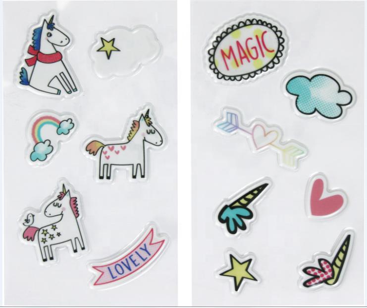 Adhesivo personalizado 3D Puffy etiqueta unicornio pegatinas de PVC