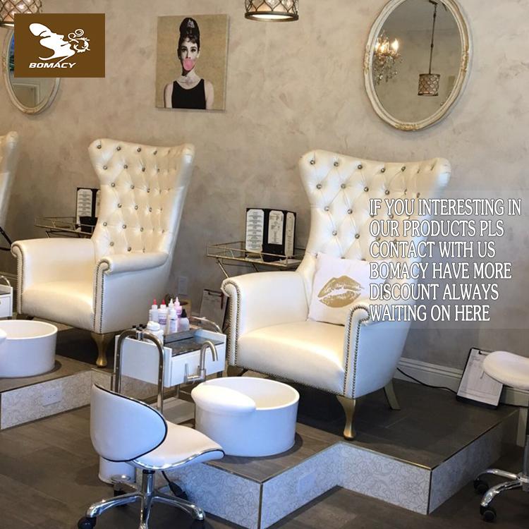 Bomacy-Sıcak beyaz modern tasarım nail salon manikür pedikür spa sandalye ucuz salon mobilya