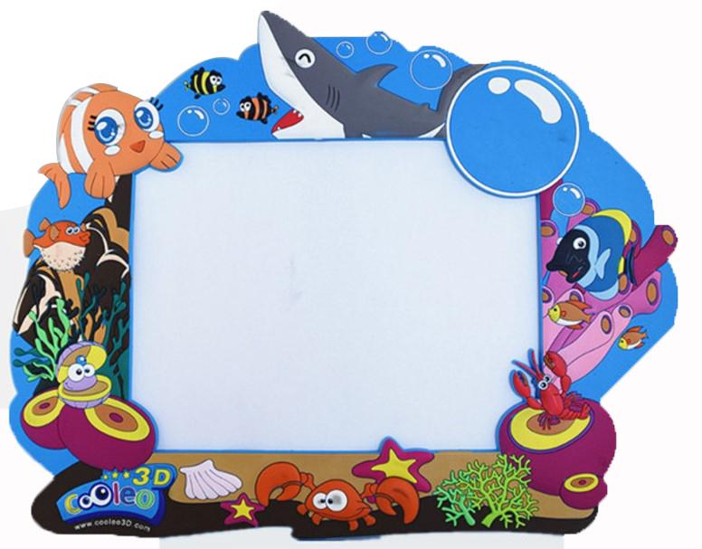 3d OEM ブランド PVC ゴム海の動物型フォト額縁挿入ギフト青色
