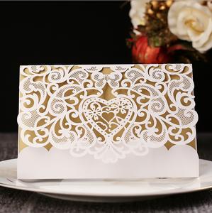 Em estoque MOQ 1 peças entrega Rápida rosa cor de papel cortado a laser cartão de convite de casamento de luxo