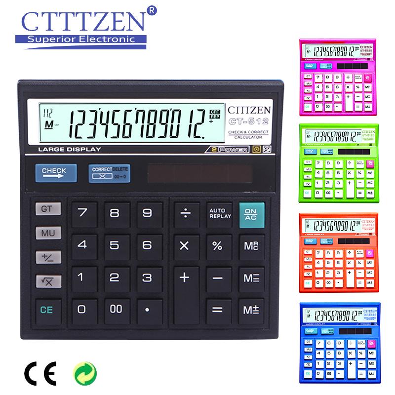 GTTTZEN bán buôn nóng bán màu tím điện kép 12 chữ số hai cách điện máy tính điện tử