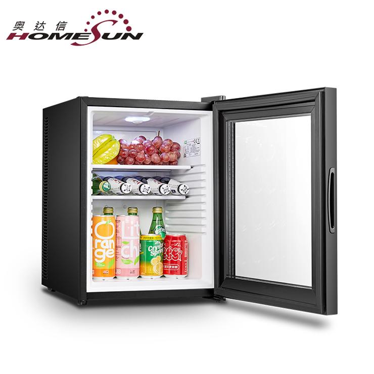 カスタムガラス扉ミニ冷蔵庫 110 ボルト、 40L ミニ冷蔵庫電気冷却ホテル、ミニ冷蔵庫のサプライヤー